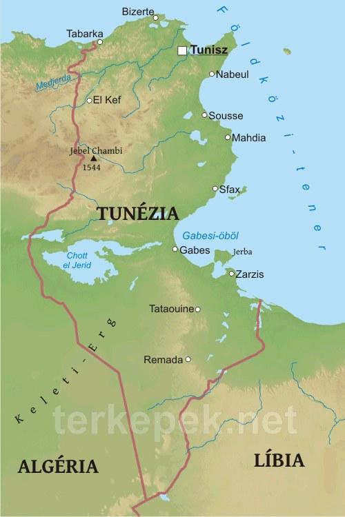 tunézia térkép Tunézia domborzati térképe